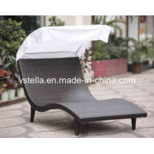 Outdoor Patio Rattan Wicker Canopy Set Swing Sunbed