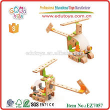Wholesale Construction Building Blocks Kids Helicopter Wooden DIY Tool Toys