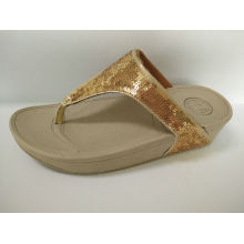 Ladies Golden Sandals Shoes, Leisure Slippers