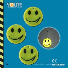 Cintre réfléchissant jaune de sourire / Danglers réfléchissants mous / étiquette molle réfléchissante avec du CE En13356