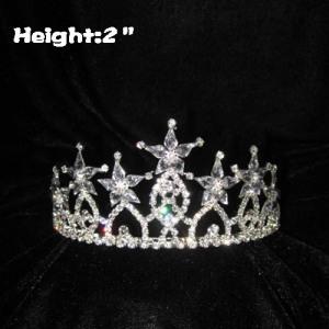 Coronas de cristal de 2 pulgadas de altura con forma de estrella en la parte superior