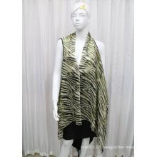 Lady Fashion Printed Polyester Chiffon Silk Shirt (YKY2210)