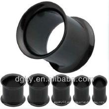 Negro plateado de acero inoxidable pendiente túnel de carne