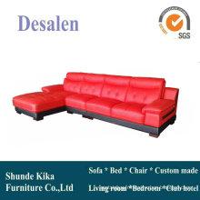 Canapé en cuir rouge. Meubles de maison L forme Sofa (938)