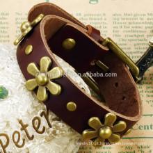 2015 nova fábrica direta étnica criativa pulseira de couro retro flor PH784