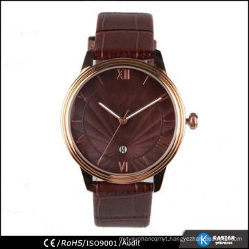 brown strap flashing rose gold man watch genuine leather