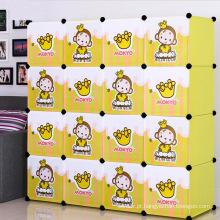 Gabinetes de armazenamento de plástico amarelo DIY para casa (ZH002-2)