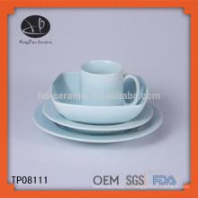 Простой белый керамический обеденный стол, набор для ужина