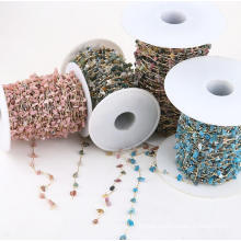 Crystal Beaded Gold Silver Copper Rosary Chain Jewelry Making Accessories Parts Irregular Raw Crystal Chips Chain