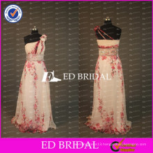 ED Bridal China Style Elegant Printed One Shoulder A Line Beaded Sash Long Chiffon Prom Dress 2017