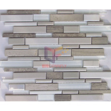 Super White Glass with Marble and Ceramic Mosaics (CFS642)
