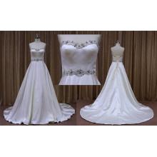 Weiß Satin Einfache Plain Brautkleider