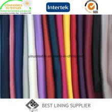 Fabricante de tecido 100 poliéster brilhante macio sólido forro de cetim