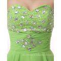 Fait sur commande de soirée dîner robe courte couleur verte sash élégant couches taobao robe de soirée