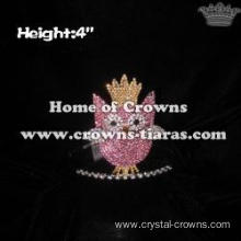 4in Height Small Pink Owl Princess Crowns