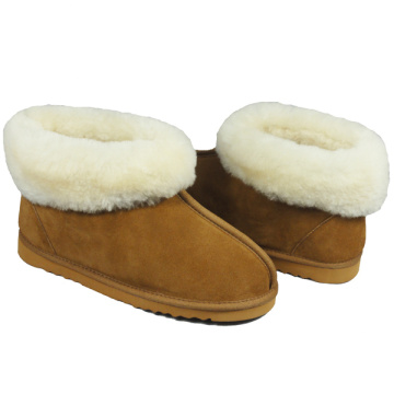 ladies cow suede indoor fuzzy leather slippers