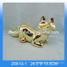 Decoración de zorro de cerámica al por mayor, estatuilla de zorro de oro-chapado en alta calidad