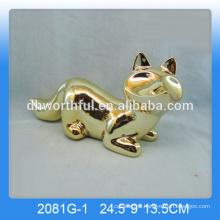 Wholesale ceramic fox decor,gold-plating fox figurine in high quality