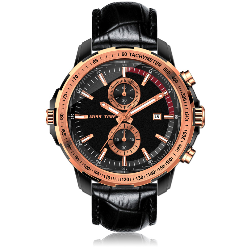 sport men watch chronograph quartz watch leather belt