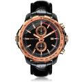 sport men watch chronograph quartz watch leather belt