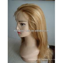 100% indien remy aaaaa cheveux humains pleine perruques de dentelle pour les femmes blanches