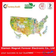 Aimant fait sur commande de réfrigérateur de carte des Etats-Unis / aimant de carte des Etats-Unis