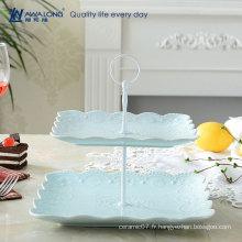 Forme carrée Jolie conception Colorée en porcelaine fine Logo personnalisé Plaques de dessert en céramique Plats, plat réutilisable de deux étages
