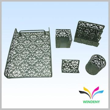 Material de escritório metal de malha de ferro 5 peças de papelaria de mesa