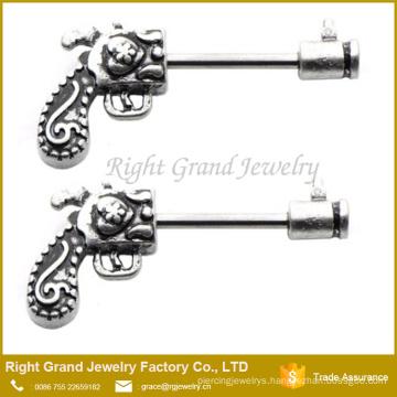 316L Surgical Steel Gun Pistol Revolver Nipple Bars Ring Barbells