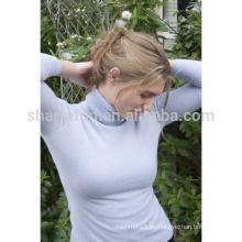 jersey de cuello alto al por mayor de estilo simple 100% pura dama de cachemira