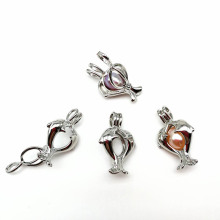 Double Dolphin Shaped Pearl Pendant Silver Cage