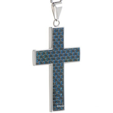 Pendentif bleu en fibre de carbone en croix en acier inoxydable Fabricant