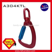 A304KTL Indicateur de charge pivotante en aluminium Snap Twist Lock Hook Carabiner