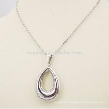 Acero inoxidable de plata hueco de lágrima en forma de collar colgante