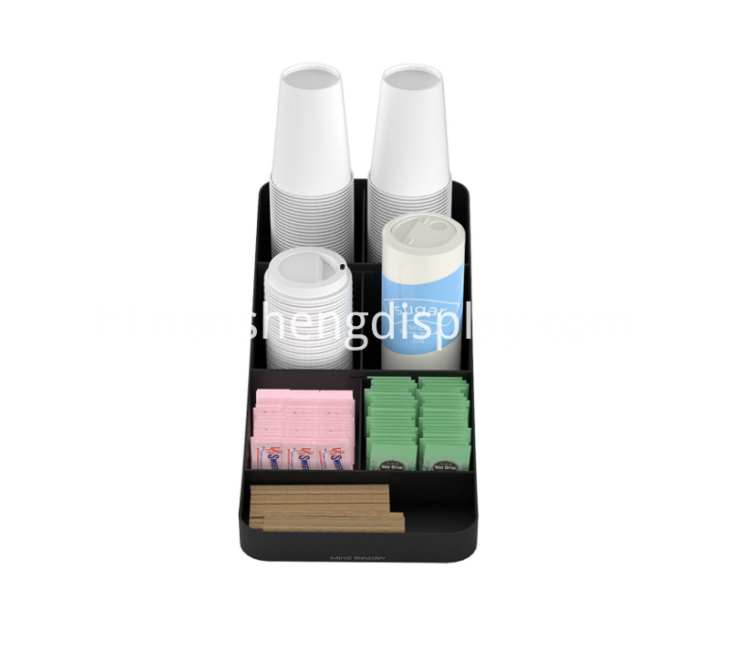 7 Compartment Black Coffee Condiment Organizer