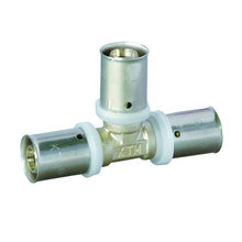 Brass Press Fitting for Plastic Pipe - Equal Tee