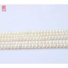 8-9mm Pieds blancs de perles d'eau douce, bouton rond (ES118)