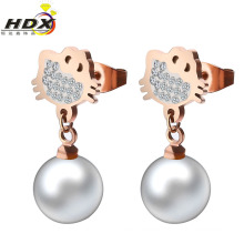 Edelstahl Schmuck Mode Perle Ohrringe (hdx1125)