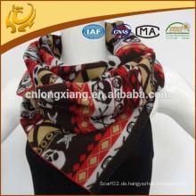 Womens Solid Color Viskose Material gebürstet und Jacquard Schädel Schal mit Fransen
