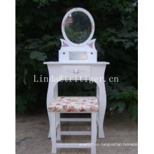 Mueble de maquillaje blanco tocador conjunto de tocador con silla taburete Conjunto de tocador de madera Polownia