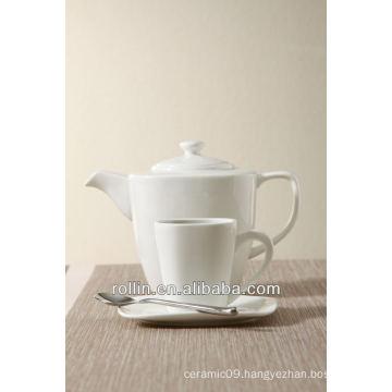 Restaurant and hotel used white fine porcelain square tea set