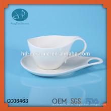 Taza de té de porcelana blanca sólida y platillo, taza de café espresso de cerámica
