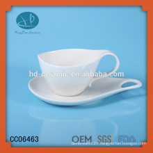 solid white porcelain tea cup and saucer ,ceramic espresso coffee cup