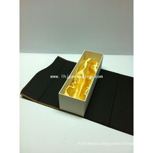 High Quality Sing Bottle Vodka Packaging Paper Box with Satin and Magnet Closure
