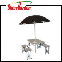 Walmart-Aluminium, das tragbaren kampierenden Picknicktisch und Stuhl, Kofferpicknicktisch faltet