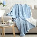 Nueva última cálida manta de algodón de punto grueso tejido personalizado