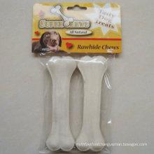 "Pet Food 6.5"" White Bleached Pressed Bone Dog Chews"