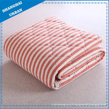 Couverture de couette à rayures en coton