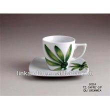 Taza de café de la etiqueta del leafage de KC-03014green con el platillo, taza de café caliente de la venta,