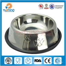 bol de chien imprimé bon marché en acier inoxydable avec du caoutchouc
